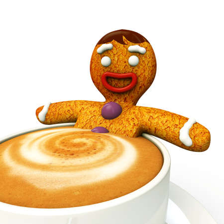 ginger bread man taking a bath with hot capuccino