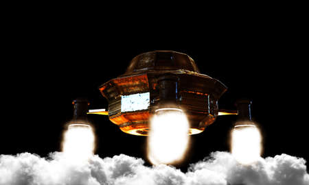 unidentified: illustration of an unidentified flying object in the sky Stock Photo