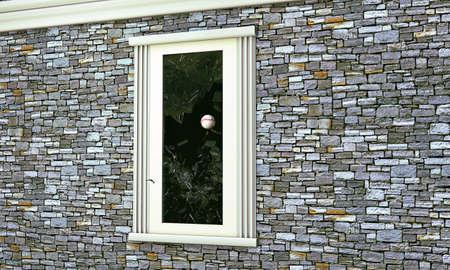 breakable: baseball ball breaking a window glass