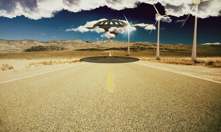 desert road: unidentified object flying over a desert road