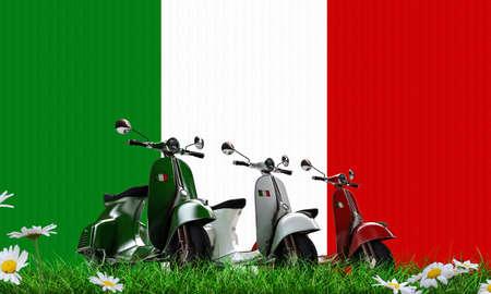 Scooters sur l'herbe verte Banque d'images - 24987692