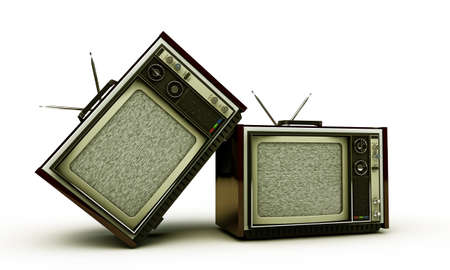 retro tv isolated on white  photo