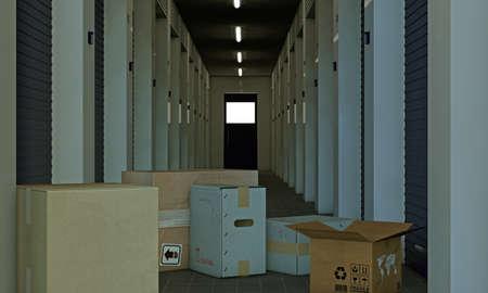 self storage: illustration of a modern self storage Stock Photo