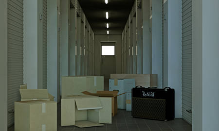relocate: illustration of a modern self storage Stock Photo