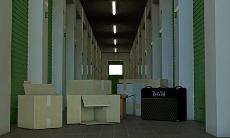 storage unit: illustration of a modern self storage Stock Photo