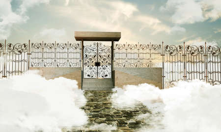 pearly gates: illustration of the heaven gate