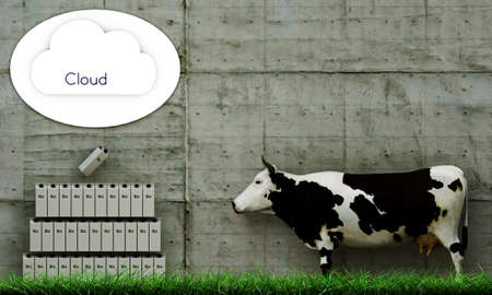 clouding: illustration of a cow that is storing milk via clouding