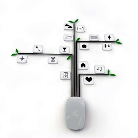 clouding: computer mouse connected with web icons isolated on white background