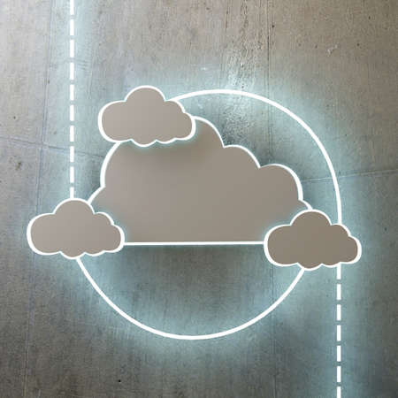 cloud storage: cloud icon on glossy concrete wall