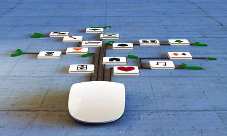 clouding: computer mouse connected with web icons on concrete floor Stock Photo