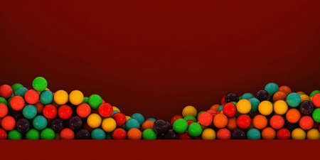 gumballs: many gumballs in a red exhibitor