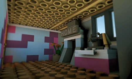 plastic bricks: illustration of an house made with plastic bricks