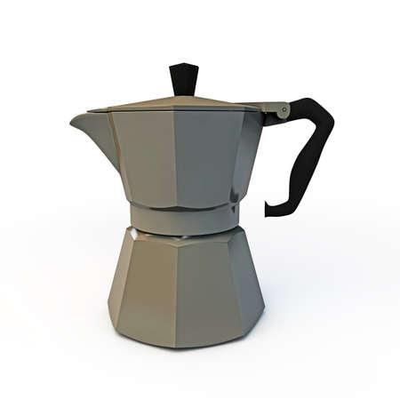 coffeepot: italian coffeepot isolated on white background