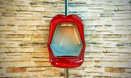 toilette: lips shaped toilette on modern wall Stock Photo