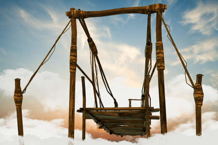 rope bridge: illustration of a wooden bridge over white clouds Stock Photo