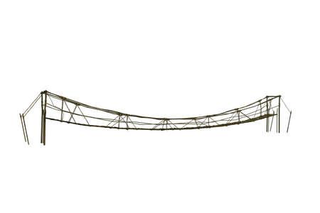 rope bridge: illustration of a wooden bridge isolated on white background