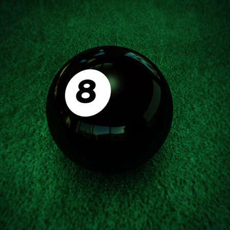 pool ball number eight on green table photo