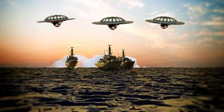 battleship: battleship intergalactic over the sea Stock Photo