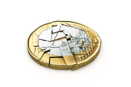 broken euro isolated on white background photo