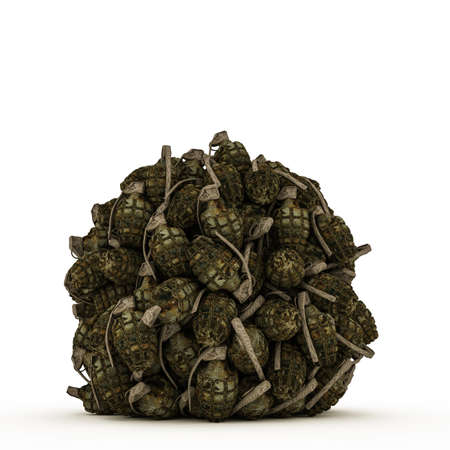 ball of grenades isolated on white background photo