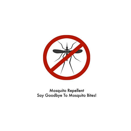 repellent: mosquito repellent spray label isolated on white background Stock Photo
