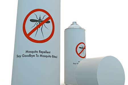 mosquito repellent spray can isolated on white background photo