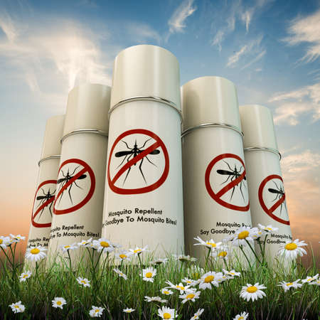mosquito repellent spray cans isolated on white background