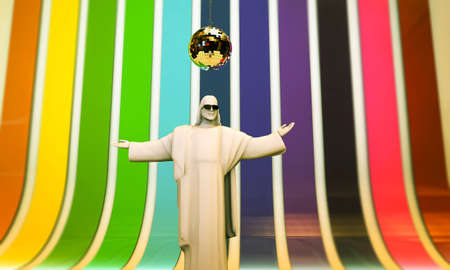statue of Christ the Redeemer dancing at the discotheque photo