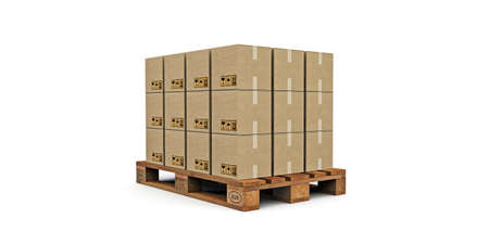 euro pallet with many cardboard boxes on it  isolated on white background