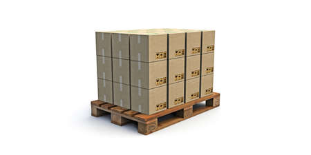euro pallet: euro pallet with many cardboard boxes on it  isolated on white background