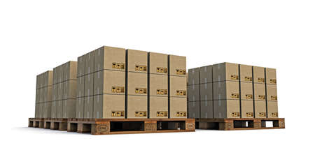 euro pallet with many cardboard boxes on it  isolated on white background photo