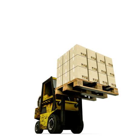 fork lifts trucks: forklift isolated on white background