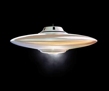 unidentified: objeto volador no identificado, aislado en fondo negro Foto de archivo