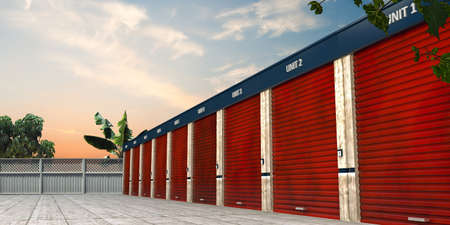 storage units: storage units isolated in a tropical place