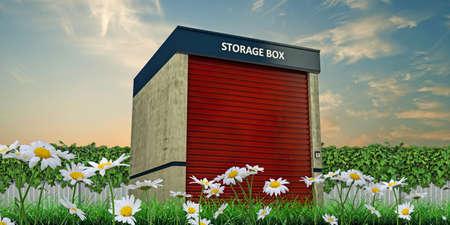 storage unit: storage unit in a green garden