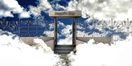 pearly gates: heaven gate over the sky