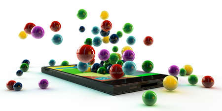 modern smartphone making many colored balls photo