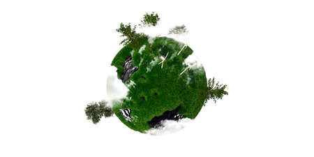 finite: little small planet isolated on white background