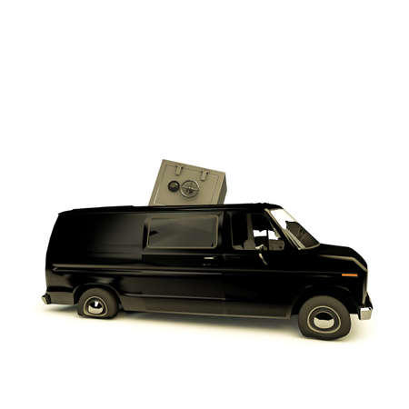 misadventure: heavy bank safe smashing into a van roof isolated on white background Stock Photo