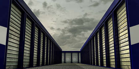 self storage with many blue units closed Stock fotó