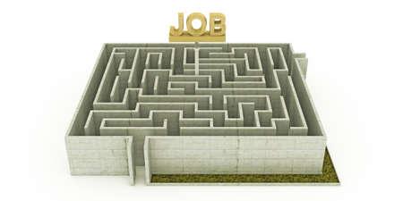 concrete maze with a huge job sign photo