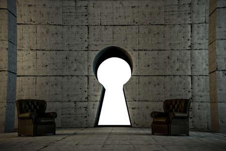 key gate access on concrete wall photo