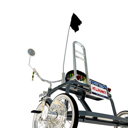 metalized: blue tricycle isolated on white background