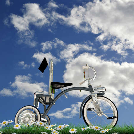 blue tricycle on green grass Stock Photo