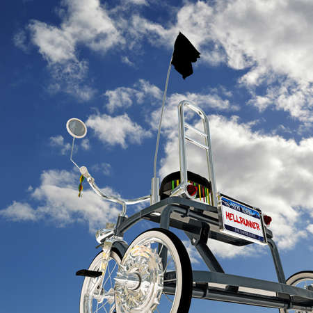 metalized: blue tricycle below a blue sky