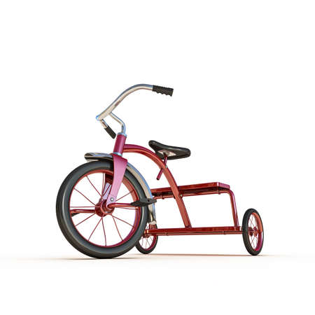 red tricycle isolated on white background
