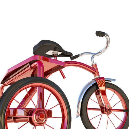 metalized: red tricycle isolated on white background