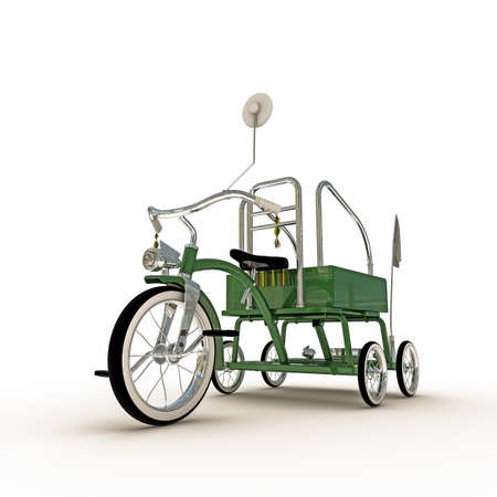 metalized: green tricycle isolated on white background