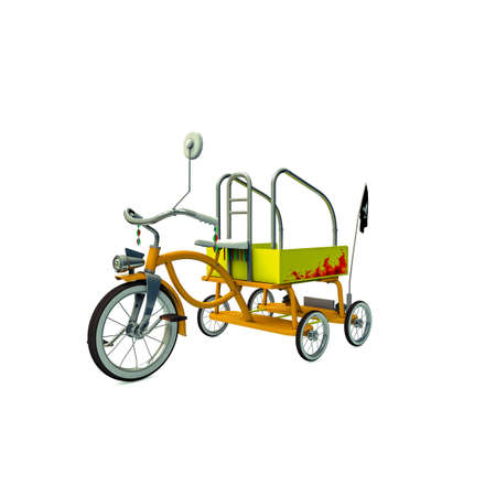 metalized: old tricycle isolated on white background Stock Photo