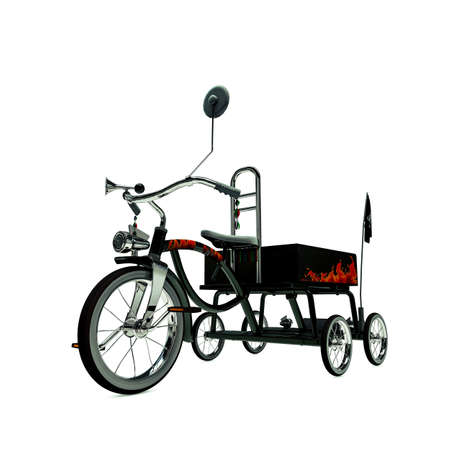 metalized: black tricycle isolated on white background